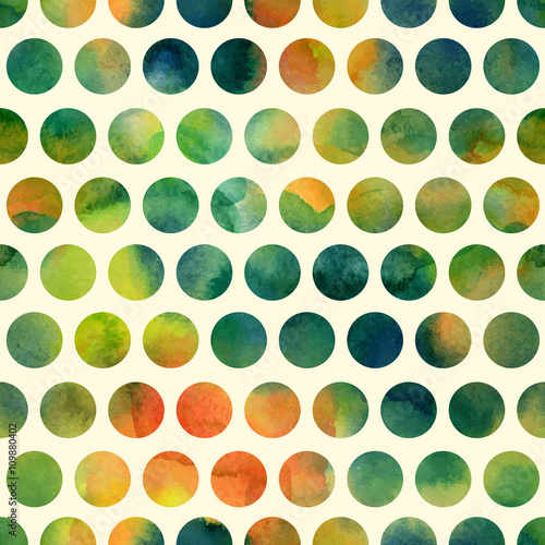 Naklejka Seamless pattern with hand painted polka dots
