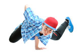 Fototapety hip-hop style dancer performing against a white background