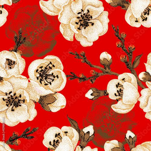 Cotton fabric Seamless pattern with sakura branch.