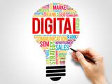 DIGITAL bulb word cloud, business concept