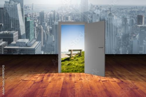 Fototapeta Composite image of illustration of open door