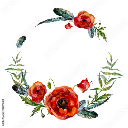 Watercolor floral wreath - 109896060