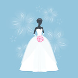 Beautiful Bride holding a flower bouquet. Princess silhouette with shadow. Female White wedding dress on mannequin on Blue flower background. Vector