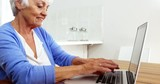 Happy mature woman using a laptop