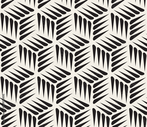 Fototapeta na wymiar Vector Seamless Black and White Thorn Shape Cubic Geometric Pattern