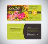 flowers  gift coupon template concept. front and back card.