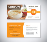 Gift coupon voucher template for restaurant. flyer brochure vect
