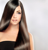 Fototapety Beautiful model woman with long , straight , healthy and shiny  black   hair.