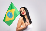 Brunette woman with brazil flag