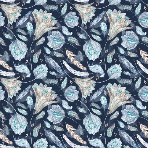 Boho Chic Indigo Pattern - 109937253