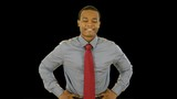 An attractive young smiling African American businessman