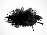 Black ink grunge splash isolated on white background - 109950003
