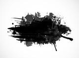 Black ink grunge splash isolated on white background - 109950003