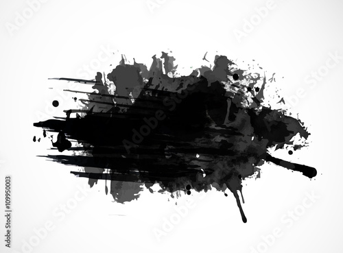 Black ink grunge splash isolated on white background © elinacious