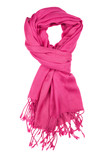 Woolen scarf.  Pink scarf  isolated on white background.