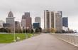 Waterfront Walkway Detroit Downtown City Skyline River Waterfron