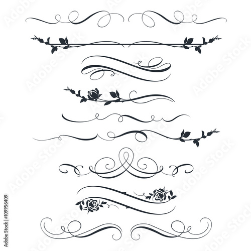 Sticker Set of calligraphic decorative elements and flowers