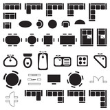 Standard furniture symbols used in architecture plans icons set, graphic design elements, black isolated on white background, vector illustration.