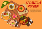 Argentine asado dishes with desserts flat icon