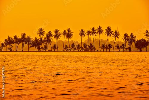 beautiful sunset scene of backwaters Kerala with silhouette of p