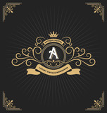Vintage monogram frame with ribbon decorative. Vector illustration