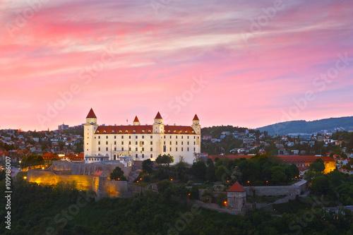 Plagát, Obraz View of Bratislava castle at sunset, Slovakia