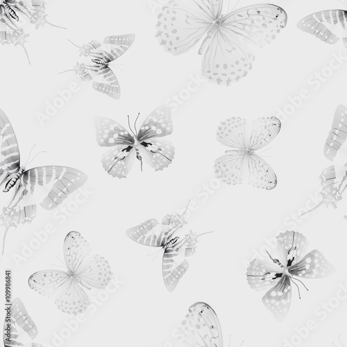 Tuinposter Vlinders in Grunge butterfly seamless 01 grey