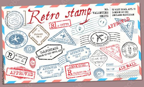 Retro post stamp. Passport Stamps