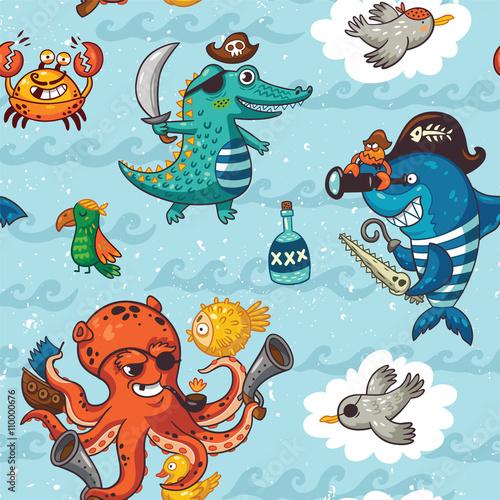 Materiał do szycia Seamless pattern with underwater pirates, crocodile, octopus, shark, crab