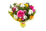 Bouquet of colorful flowers on isolated background