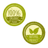 100 percent organic food and natural product with leaf signs in