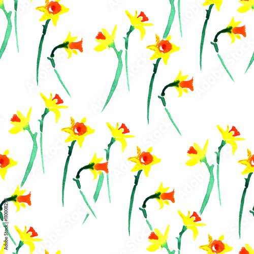 Cotton fabric Watercolor spring floral narcissus pattern