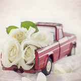 Red toy truck with white roses - 110018077
