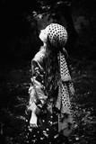 woman in kimono and headscarf