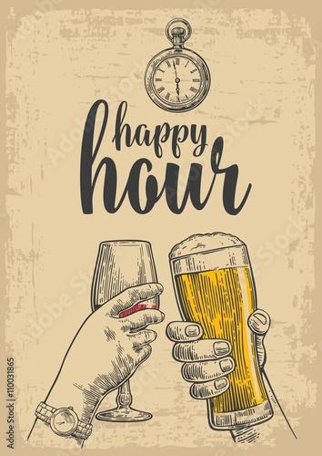 dwie-rece-brzecza-szklanka-piwa-i-kieliszkiem-wina-rysowany-element-projektu-sztuka-wektor-wygrawerowanym-ilustracja-do-www-plakat-zaproszenie-na-impreze-pojedynczo-na-bezowym-tle-szczesliwa-godzina
