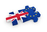 UK and EU Puzzle Pieces - British and European Flag Jigsaw 3D Illustration