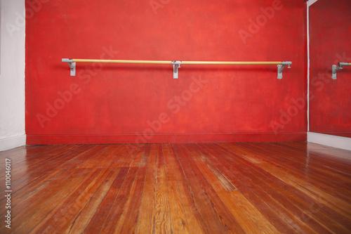 Ballet Bar Against Wall In Empty Studio