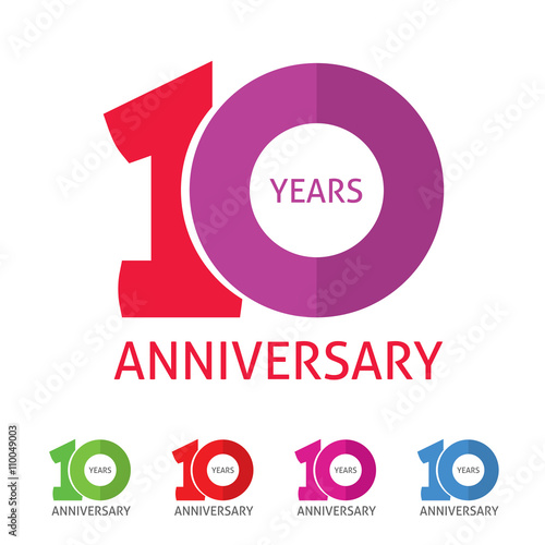 10th Anniversary Logo Template With A Shadow On Circle Number 1 One