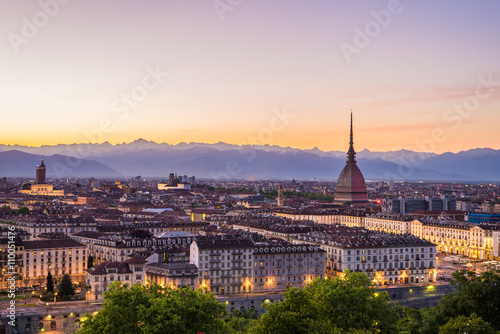Cityscape of Torino (Turin, Italy) at dusk with colorful sky Poster