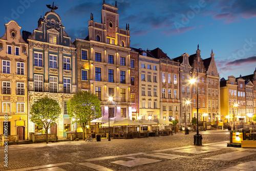 Zdjęcia na płótnie, fototapety na wymiar, obrazy na ścianę : Old Town at night in Gdansk, Poland.