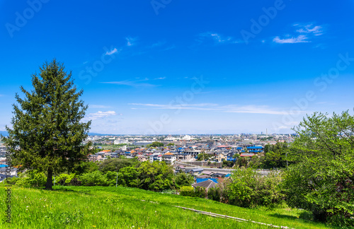 Zdjęcia na płótnie, fototapety, obrazy : 住宅街を望む新緑の丘