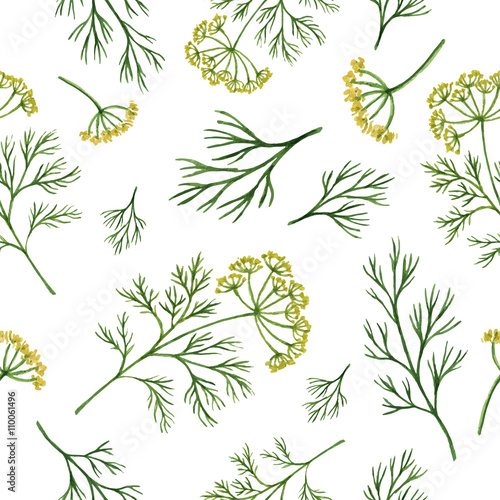 Watercolor seamless pattern hand drawn herb dill . - 110061496