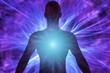 Cuerpo humano con rayos de energía