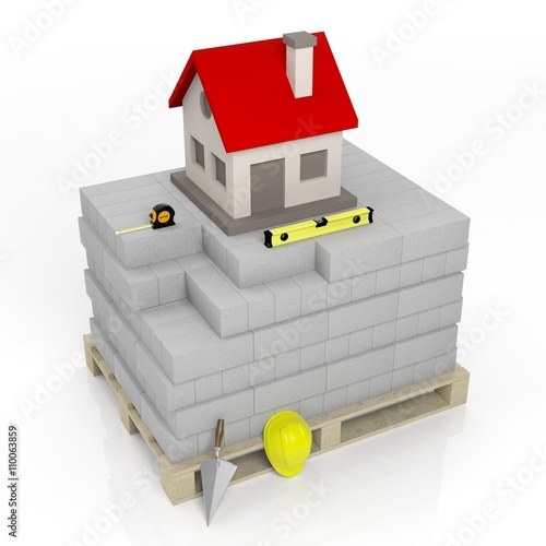 3d rendering of masonry tools and bricks with house Online rendering tool