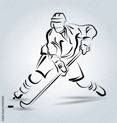 Fototapeta Vector line sketch hockey player