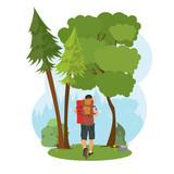 man goes hiking in the woods. isolated nature scene.