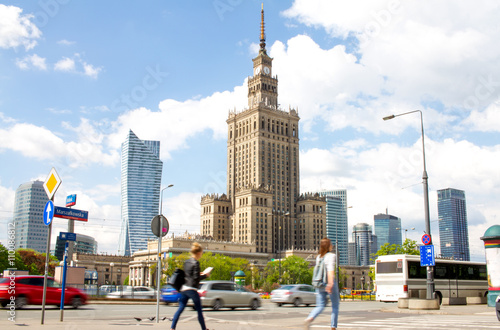 Warsaw street with Palace of Culture and Science