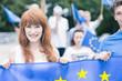Woman with European Union flag