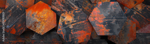 Rusty Metal Hexagon Tiles Background (Website Head) - 3D Rendering - 110089801