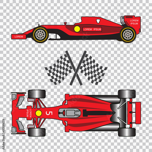 Fotobehang F1 Red racing car with sport flags isolated on checkered background. Top view and side view. Vector illustration